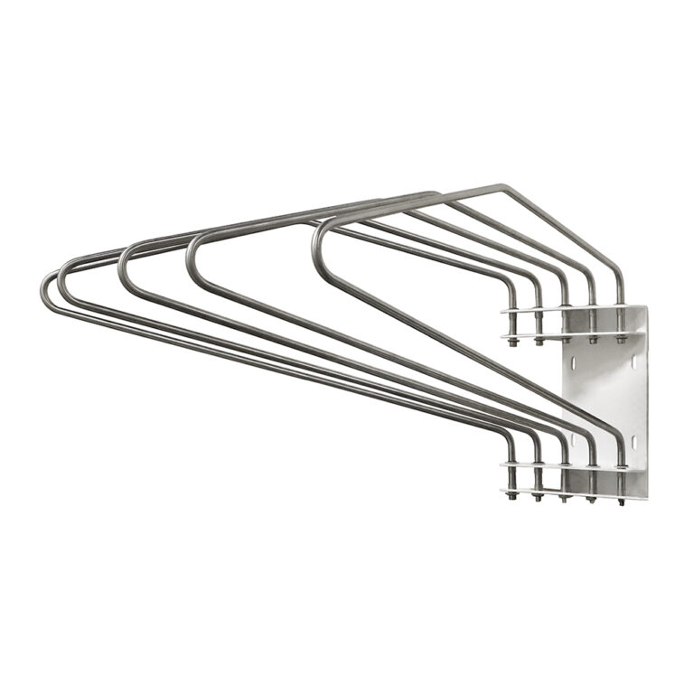 Five Arm Lead Apron Wall Rack Angled to the Left