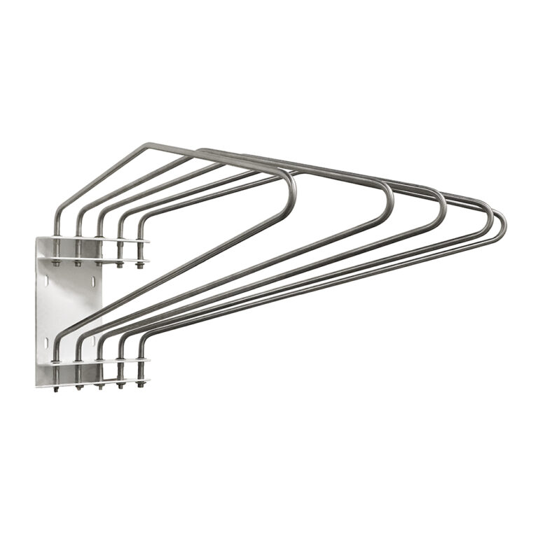 Five Arm Lead Apron Wall Rack Angled to the Right