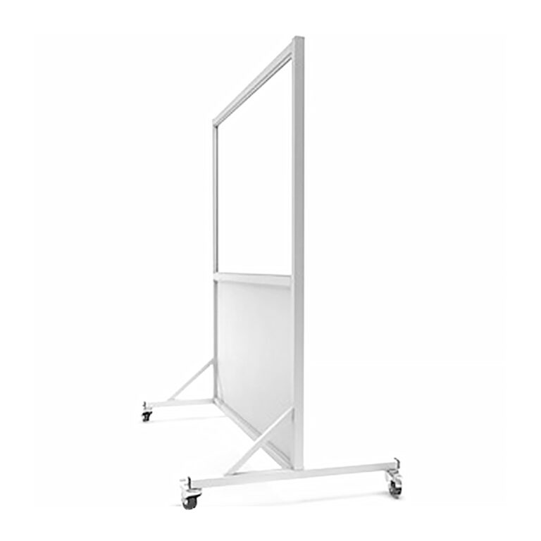 Mobile Leaded Barrier 3648 Angled to the Side with Mobile Casters
