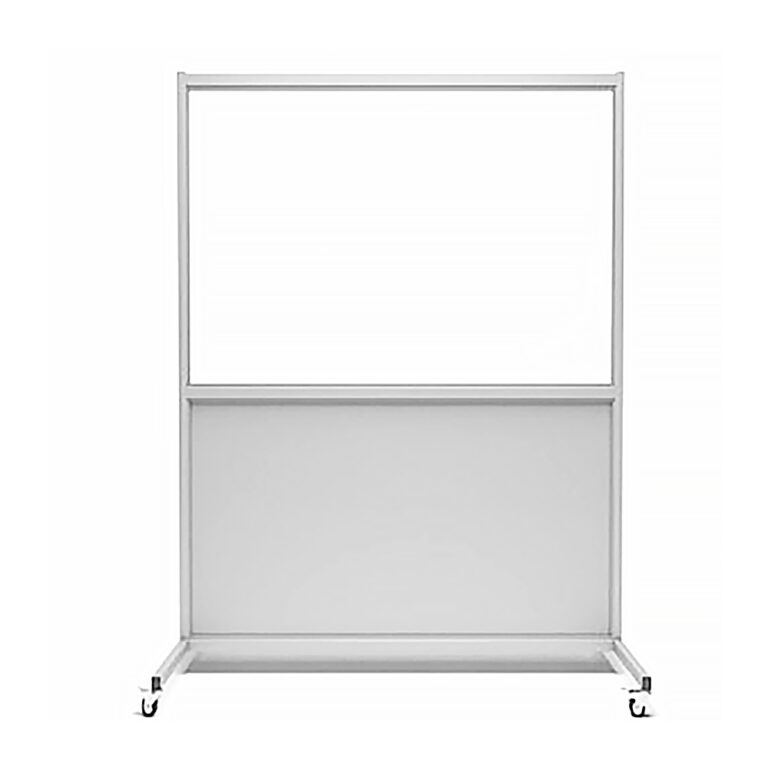 Mobile Leaded Barrier 3672 Angled to the Front with Mobile Casters