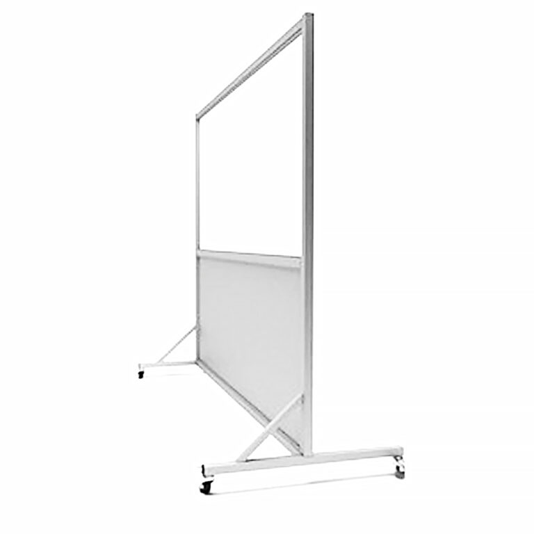 Mobile Leaded Barrier 3672 Angled to the Side with Mobile Casters
