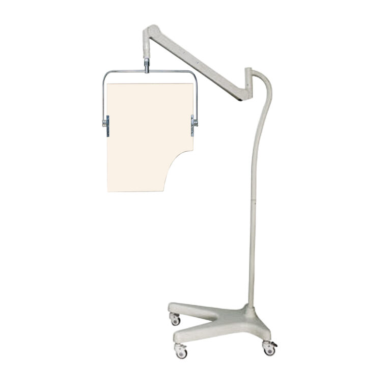 Square Arm Overhead Lead Acrylic Mobile Barrier With Torso Cutout Full Image