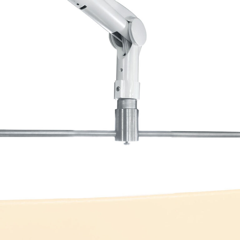 Square Arm Overhead Lead Acrylic Mobile Barrier With Torso Cutout Joint and Arm Closeup