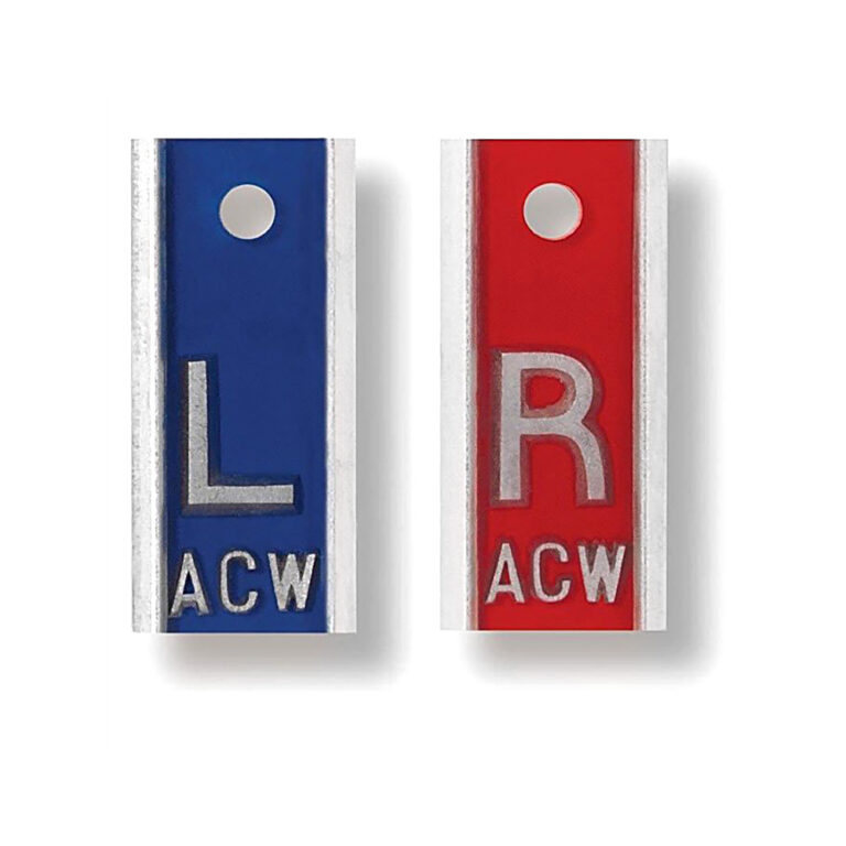 Engravable Leaded Aluminum Markers in Blue and Red