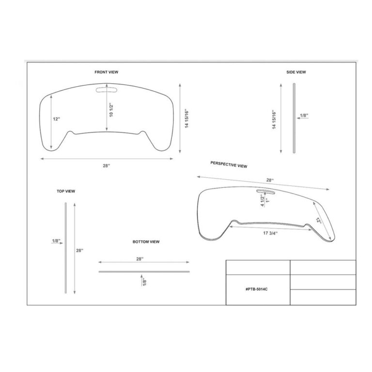 Curved Banana Transfer Board Dimension Sheet