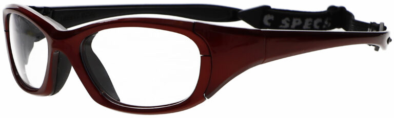 Microlite Model FB-1000 Radiation Protective Glasses in Red, Side Left Angle