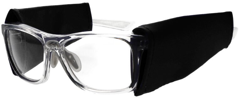 Universal Radiation Protective Side Shields in Black, Angled to the Side Left