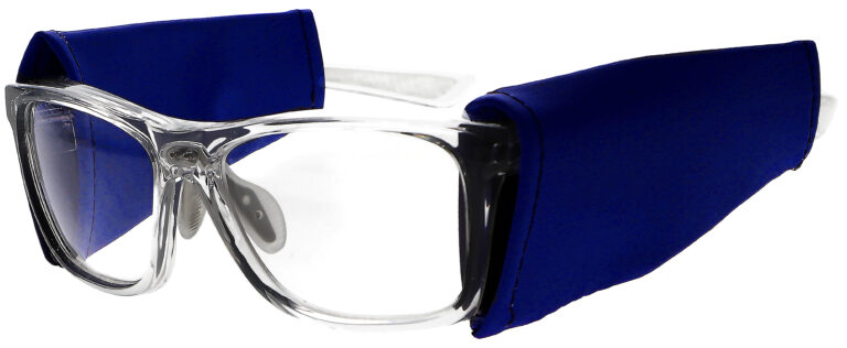 Universal Radiation Protective Side Shields in Blue, Angled to the Side Left