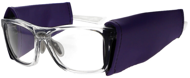 Universal Radiation Protective Side Shields in Purple, Angled to the Side Left