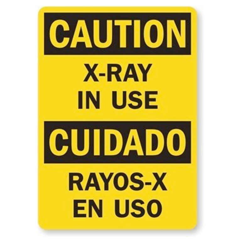 "Magnetic Plastic Warning Sign In Yellow with Black Text ""X-Ray In use"""