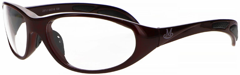 Microlite FB 100 Radiation Protective Glasses in Red, slightly angled to the left