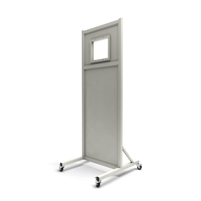 Mobile Leaded Barrier 1012-2472 Angled to the Side with Mobile Casters