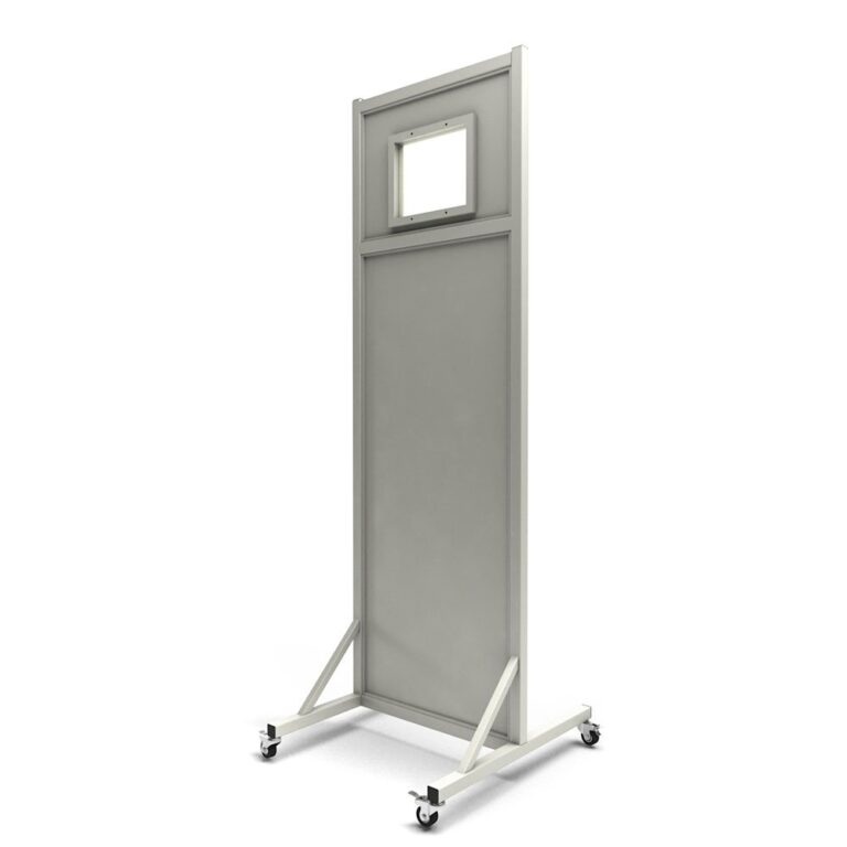 Mobile Leaded Barrier 1012-2484 Angled to the Side with Mobile Casters