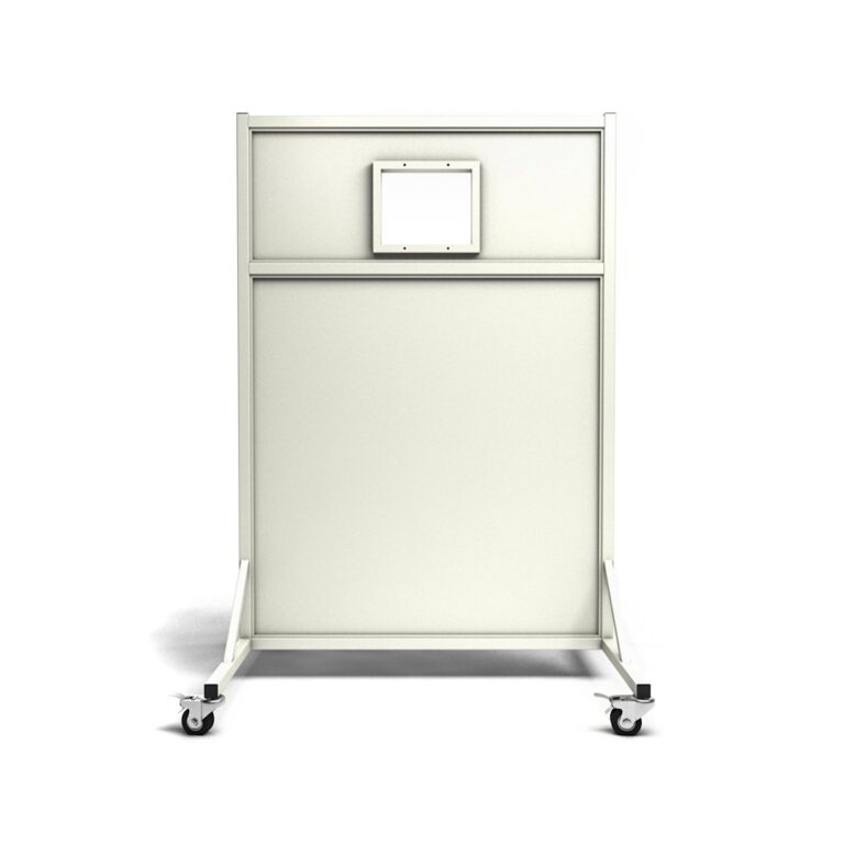 Mobile Leaded Barrier 4572 Angled to the Front with Mobile Casters