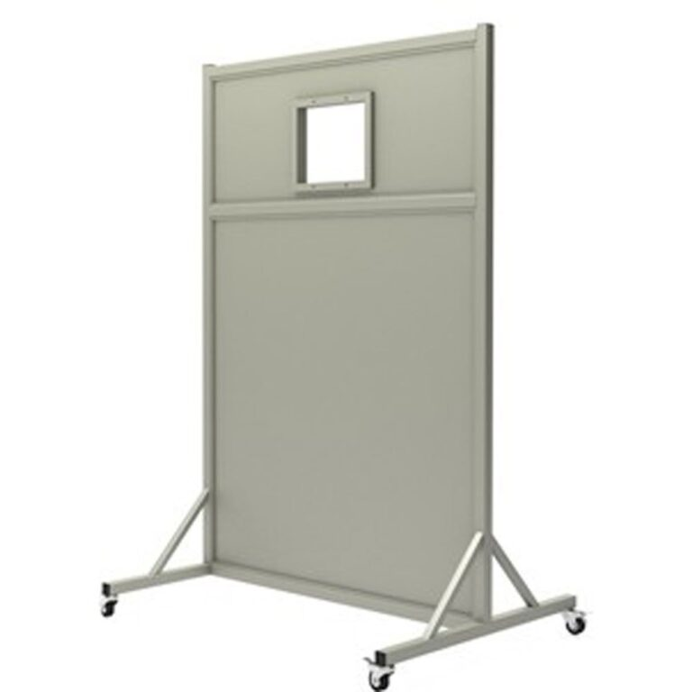Mobile Leaded Barrier 4572 Angled to the Side with Mobile Casters