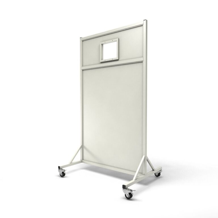 Mobile Leaded Barrier 4584 Angled to the Side with Mobile Casters