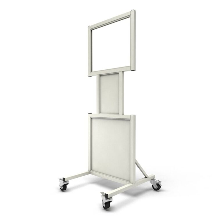 Mobile Leaded Barrier 2024-N Angled to the Left with Mobile Casters
