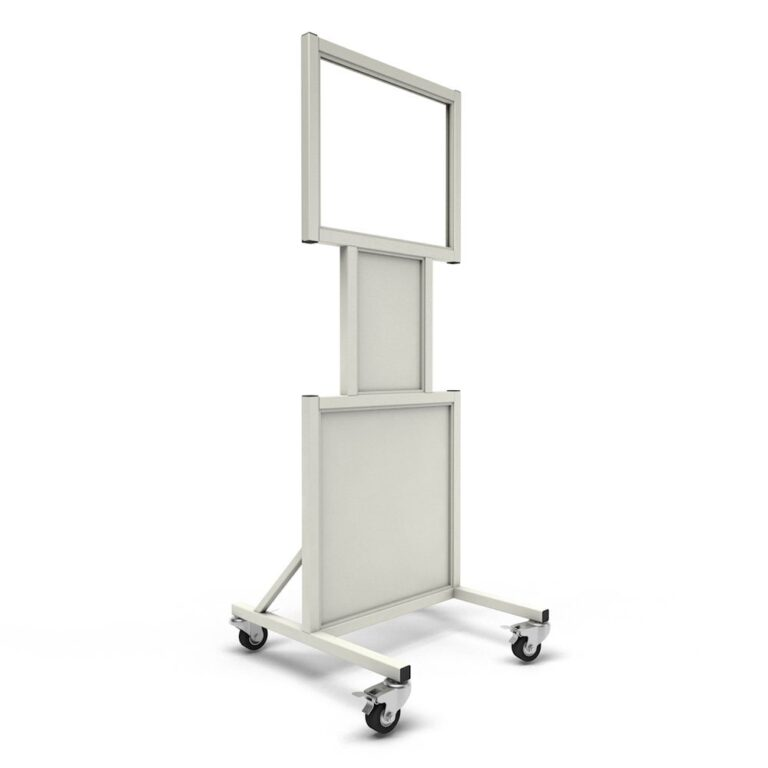 Mobile Leaded Barrier 2024-N Angled to the Right with Mobile Casters