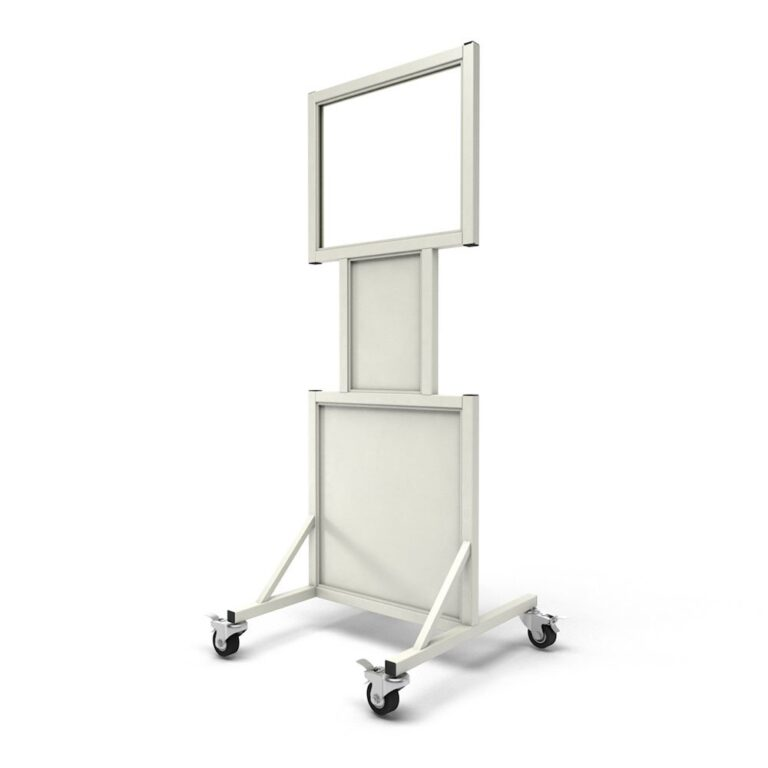 Mobile Leaded Barrier 2024-N Angled to the Back with Mobile Casters