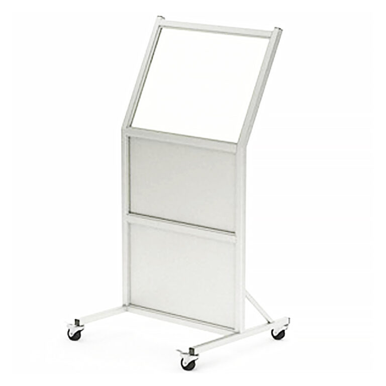 Mobile Leaded Barrier 2430-B Angled to the Left with Mobile Casters