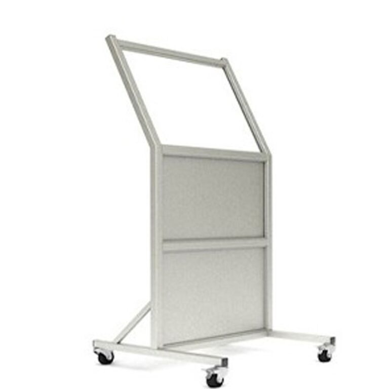 Mobile Leaded Barrier 2430 Angled to the Right with Mobile Casters