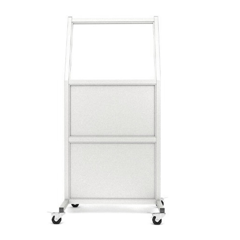 Mobile Leaded Barrier 2430 Angled to the Front with Mobile Casters