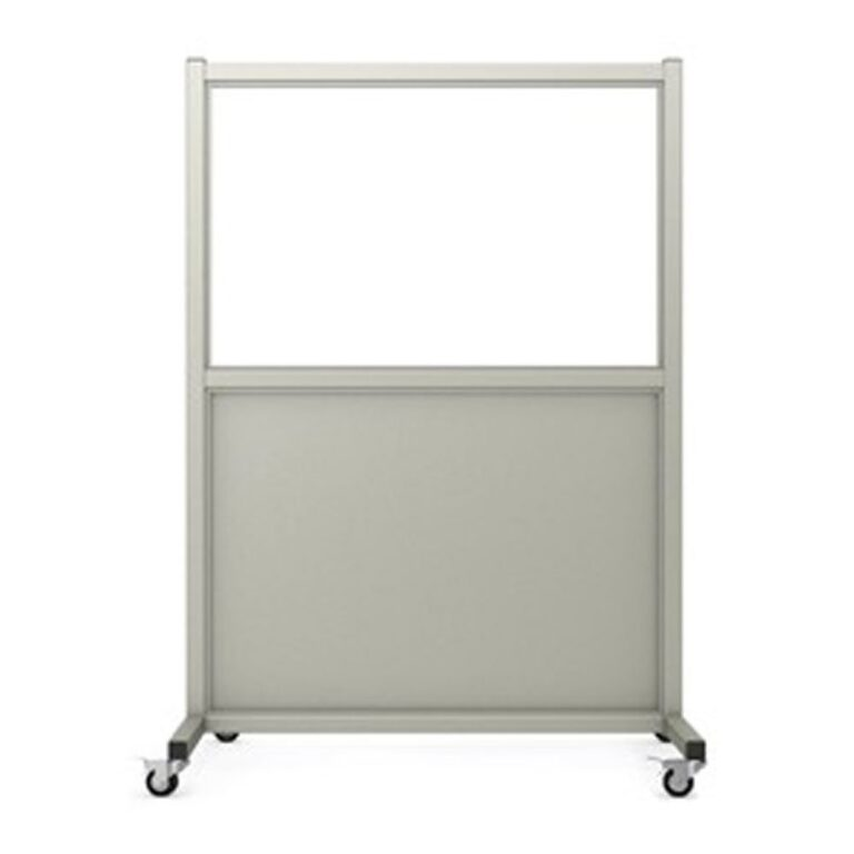 Mobile Leaded Barrier 2436 Angled to the Front with Mobile Casters