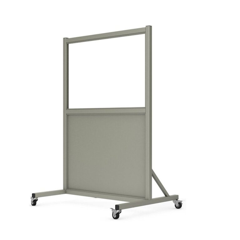 Mobile Leaded Barrier 2436 Angled to the Left with Mobile Casters