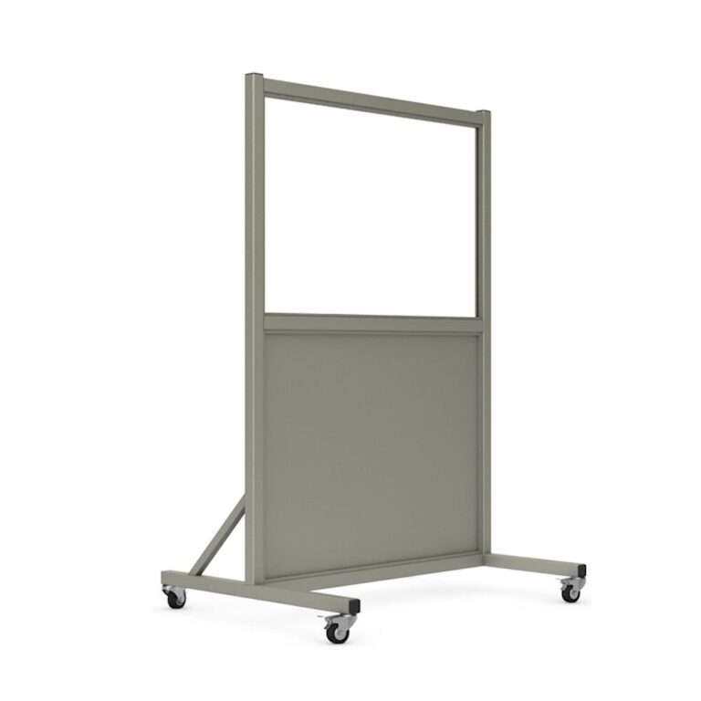 Mobile Leaded Barrier 2436 Angled to the Right with Mobile Casters