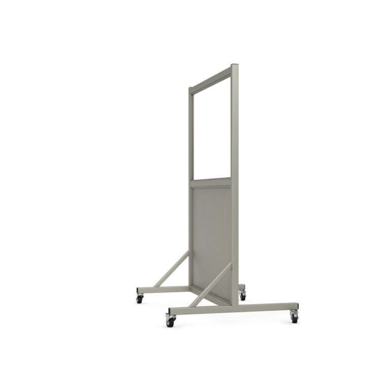 Mobile Leaded Barrier 2436 Angled to the Side with Mobile Casters