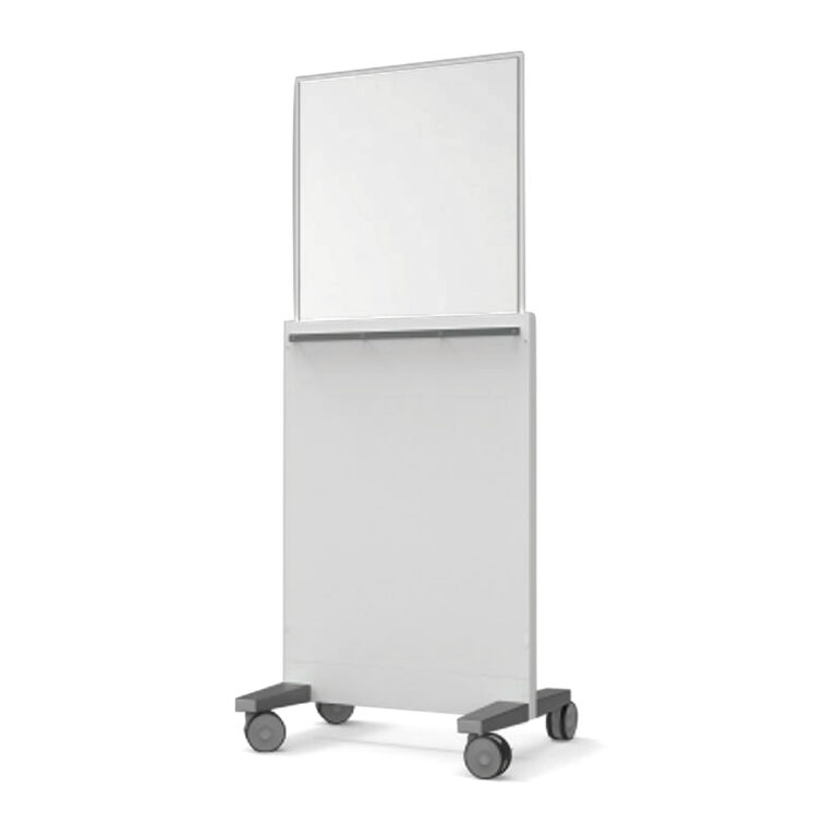 Mobile Leaded Barrier-7429 Angled to the Left with Mobile Casters