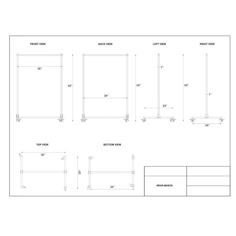Mobile Radiation Apron Valet Rack 36-Inch Dimension Sheet