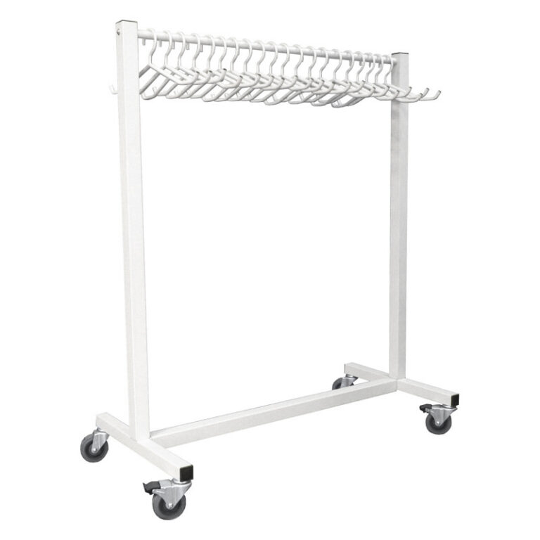 Mobile Radiation Apron Valet Rack Front View with Mobile Casters and Hangers