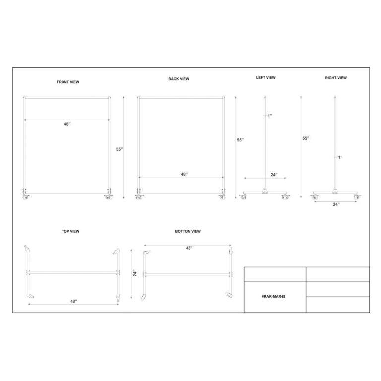 Mobile Radiation Apron Valet Rack Dimension Sheet