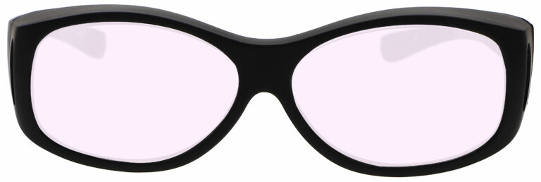 Model 33 Radiation Glasses and Laser Safety Glasses in Black with Pink Lenses, Front Angle