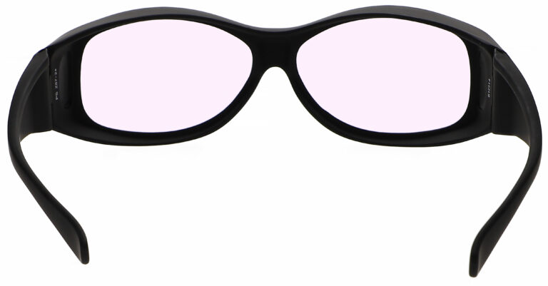 Model 33 Radiation Glasses and Laser Safety Glasses in Black with Pink Lenses, Rear Angle