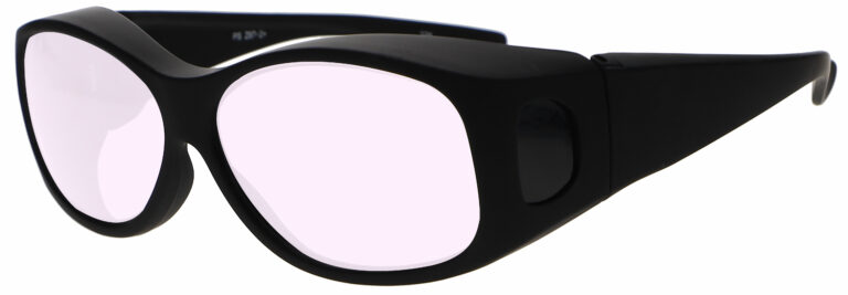 Model 33 Radiation Glasses and Laser Safety Glasses in Black with Pink Lenses, Side Left Angle