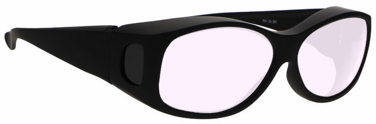Model 33 Radiation Glasses and Laser Safety Glasses in Black with Pink Lenses, Side Right Angle