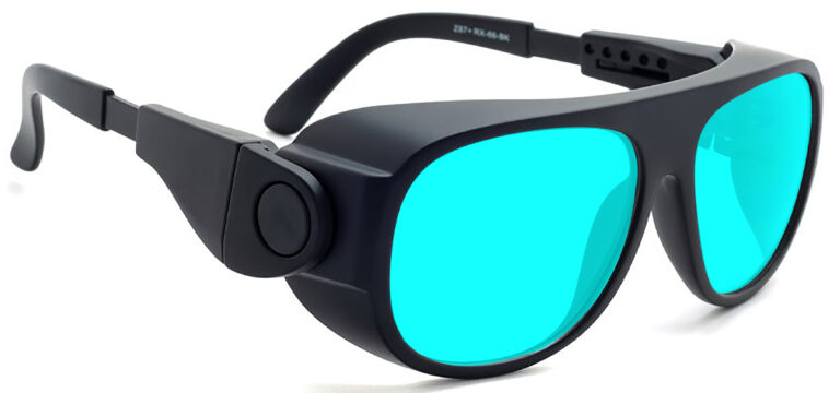 Model 66 Radiation and Laser Safety Glasses in Black with Blue Lenses, Side Right Angle