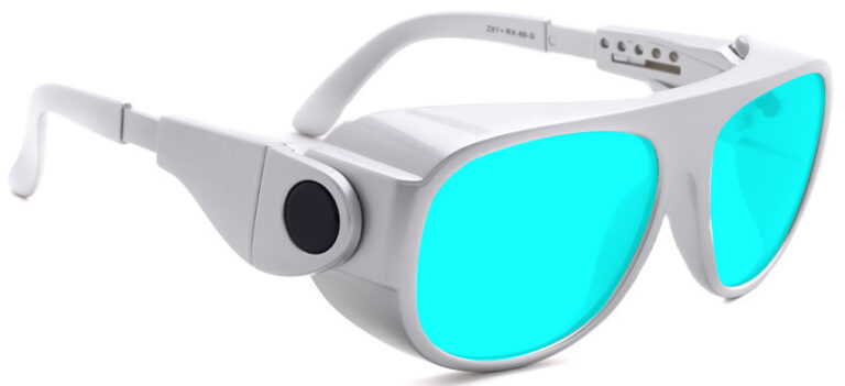 Model 66 Radiation and Laser Safety Glasses in Silver with Blue Lenses, Side Right Angle