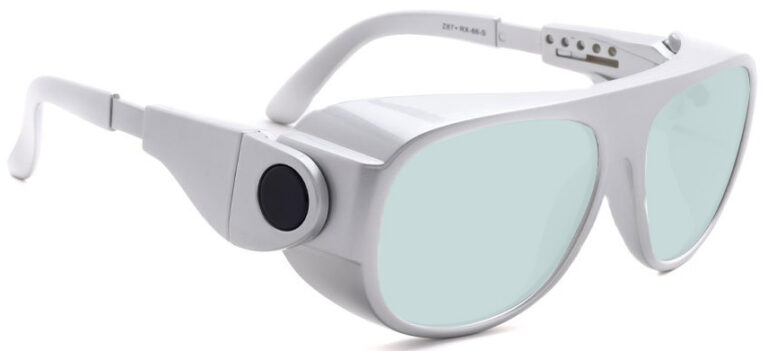 Model 66 Radiation and Laser Safety Glasses in Silver, Side Right Angle