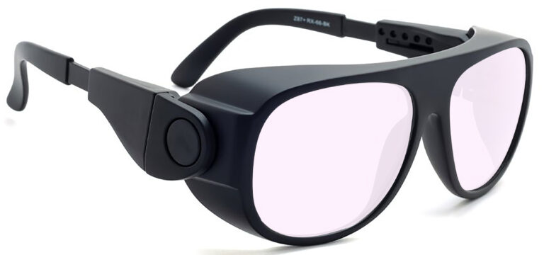 Model 66 Radiation Glasses and Laser Safety Glasses in Black with Pink Lenses, Side Right Angle