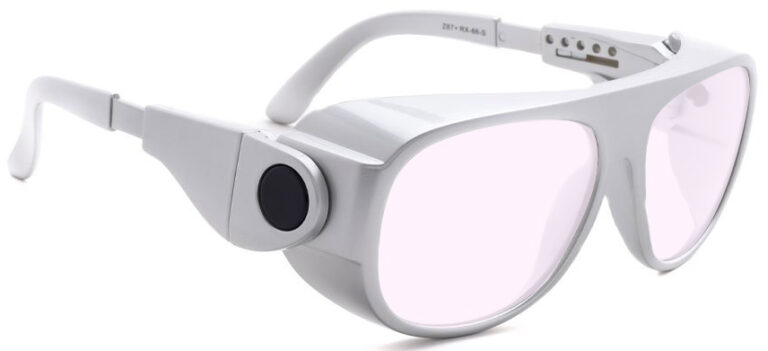 Model 66 Radiation Glasses and Laser Safety Glasses in Silver with Pink Lenses, Side Right Angle