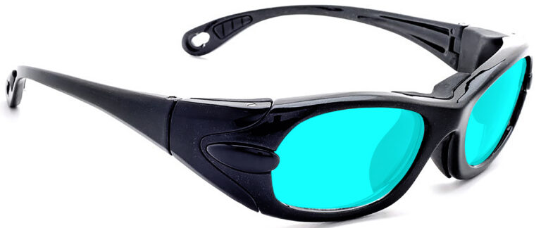 Model EGM Radiation and Laser Safety Glasses in Black with Blue Lenses, Side Right Angle