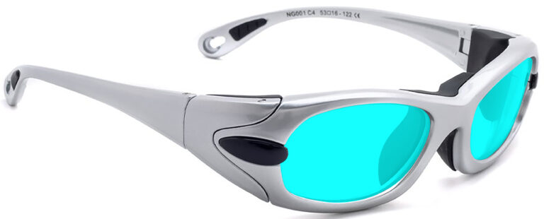 Model EGM Radiation and Laser Safety Glasses in Silver with Blue Lenses, Side Right Angle