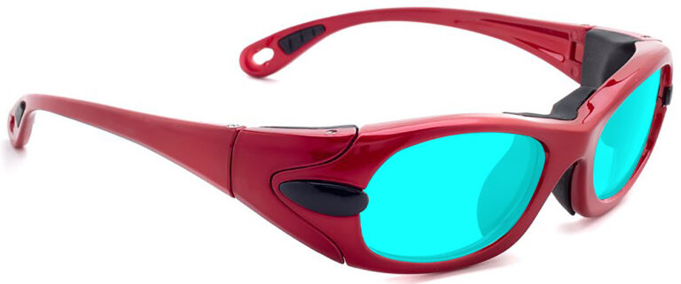 Model EGM Radiation and Laser Safety Glasses in Red with Blue Lenses, Side Right Angle