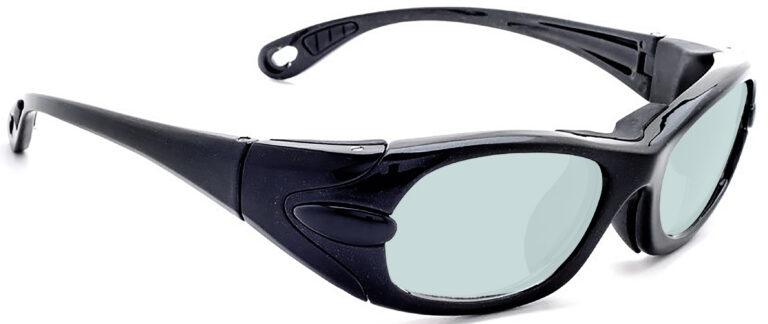 Model EGM Radiation and Laser Safety Glasses in Black, Side Right Angle