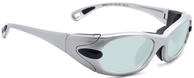 Model EGM Radiation and Laser Safety Glasses in Grey, Side Right Angle