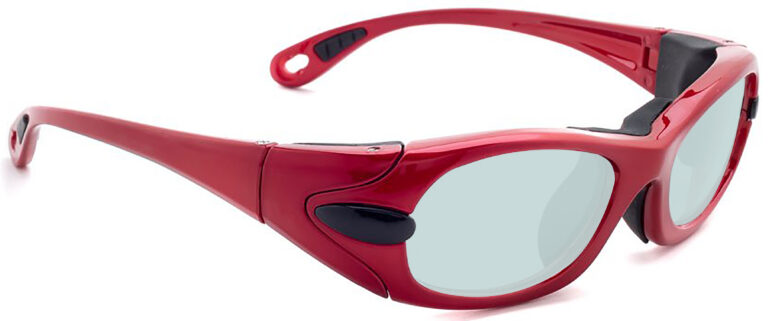 Model EGM Radiation and Laser Safety Glasses in Red, Side RightAngle