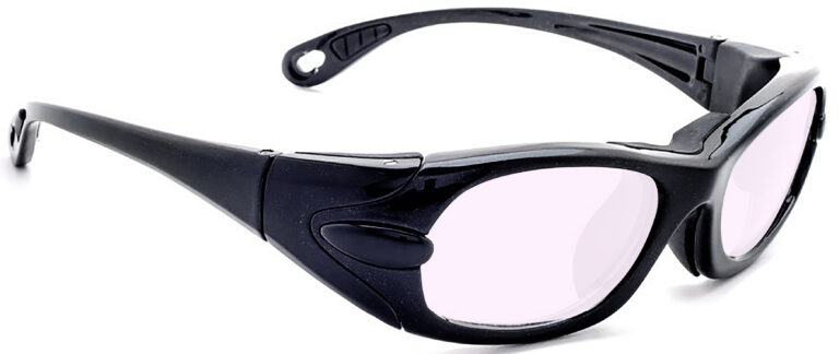 Model EGM Radiation Glasses and Laser Safety Glasses in Black with Pink Lenses, Side Right Angle